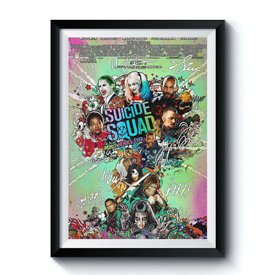 SUICIDE SQUAD Signed Poster A4 Reprint Movie Casts Autographed Fan Gift 686030