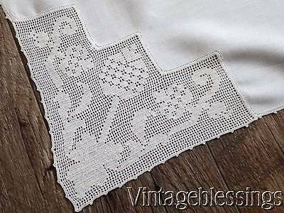 "Lovely Antique Lace Trimmed Tablecloth 55"" x 54"" Early Pineapple Welcome Design"