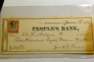 1873 People's Bank Bellefontaine Ohio W/revenue Stamp Sharp Note And Signatures