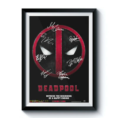 DEADPOOL Signed Poster A3 Reprint Marvel Movie Casts Autographed Fan Gift 646001