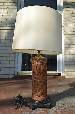 Antique Chinese Hand Carved Bamboo Table Lamp w/ OPEN Chinese Story Design 19C