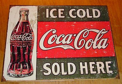 ICE COLD COCA COLA SOLD HERE Rustic Vintage Reproduction Coke Bottle Sign NEW