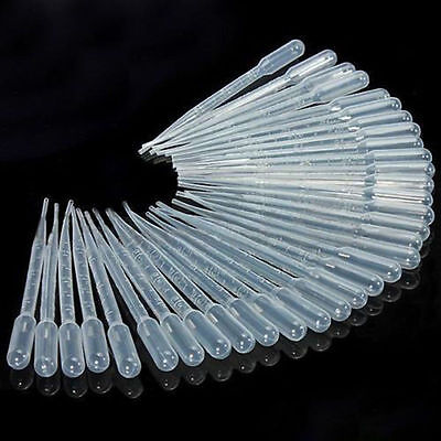 3ml Disposable Polyethylene Eye Dropper Transfer Graduated Pipettes 100 Pack USA