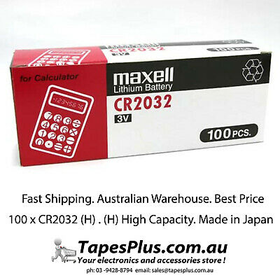 100x Pack MAXELL CR2032 3v 220mah lithium Battery button cell/coin for calculato