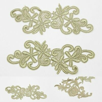 NEW Sewing Lace Motif Gold Floral Mirror Applique 1Pair DIY Craft Wedding Dress