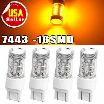 4x 7443/7440 High Power 80W Amber Yellow LED Turn Signal Parking Light Bulbs