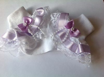 Handmade Lilac beads bow baby/girls frilly socks various sizes