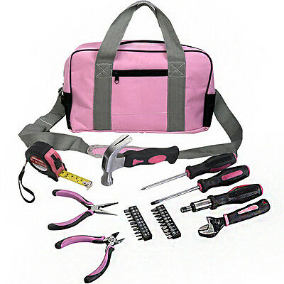 Fds 25Pc Pink Lady Tool Set Kit Bag Carry Case Screwdriver Ladies Handle Diy