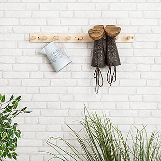 4 PAIR Wooden Wall Mounted Welly Rack Hanging Wellington Boot Storage Wood Stand