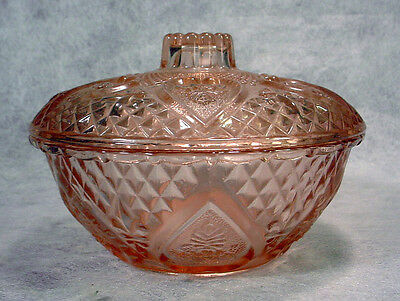 PINK Depression Glass CANDY DISH Heart & Rose KIG Indonesia JEWELRY BOX Vintage