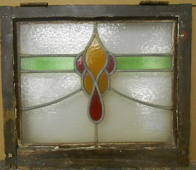 "OLD ENGLISH LEADED STAINED GLASS WINDOW Abstract Swag Design 21.5"" x 18.5"""