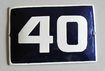 "VINTAGE BLUE  PORCELAIN ENAMEL NUMBER  40 SIGN  - 5,9"" by 3,7"""