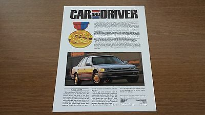 Official And Genuine 1991 Honda Accord Car And Driver Reprint Brand New Brochure
