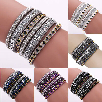 Punk Multilayer Leather Wrap Wristband Cuff Crystal Rhinestone Bracelet Bangle