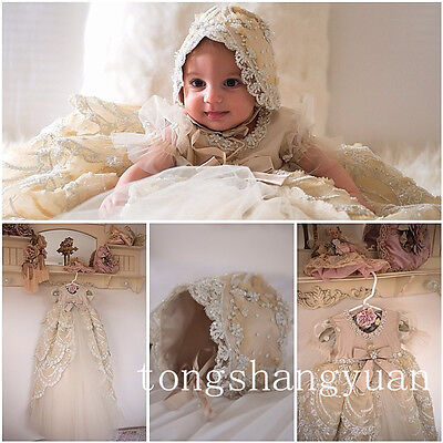 For Girls Boys Baby Baptism Dresses White Ivory With Bonnet Christening Gown New