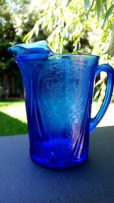 Cobalt Royal Lace 48 Oz Pitcher 7 1/4 STRAIGHT SIDES