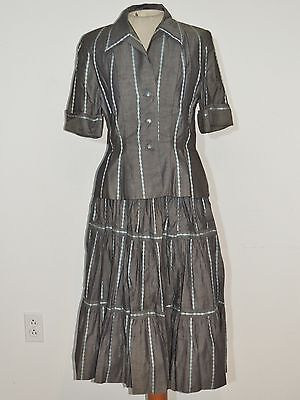 Claire McCardell for Benham Gray Cotton Halter Dress w Jacket w Peplum SM - MED