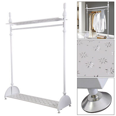 4FT Shabby Chic White Garment Rail Metal Vintage Style Hanging Clothes Stand UK
