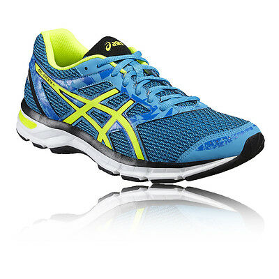 Asics Gel-Excite 4 Mens Yellow Blue Cushioned Running Sports Shoes Trainers