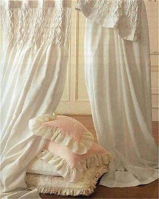 Cream Shabby French Country Curtains Drapery 2 Ivory Vintage Smocked Panels Chic