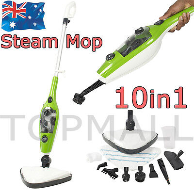 1600W Floor Steam Mop Steaming Cleaning with H2O Water 10 in 1 Cleaner Kitchen