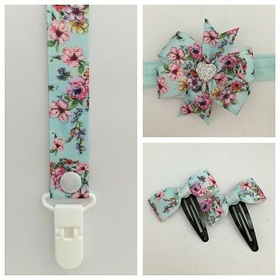 dummy clip headband girls hair band baby newborn bow binky dummie clips