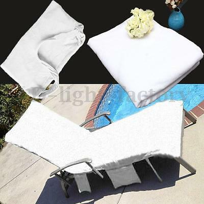 Thicker Sun Lounger Mate Beach Towel Carry Pockets Bag for Holiday Garden White
