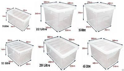 Clear Plastic Storage Box Boxes Lid UK MADE Home Office Stackable Food Storer