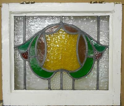 "MID SIZED OLD ENGLISH LEADED STAINED GLASS WINDOW Stunning Abstract 22"" x 19"""