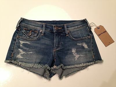 TRUE RELIGION JEANS Womens Denim JOEY CUT OFF SHORTS with FLAPS size 23 $248 NWT