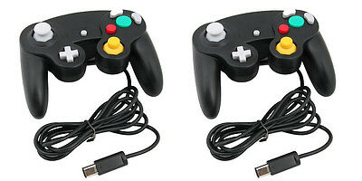 2 x Black Wired Controller for Nintendo GameCube GC & Wii Console CLASSIC JOYPAD