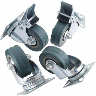 4 x Heavy Duty GREY Rubber Swivel Castors Casters Wheels 50mm (2 inches) UK