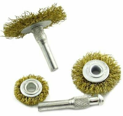 5pc Brass Coated Wire Wheel Kit Mandrel Drill Attachment Adapter Rust Removal