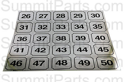 Washer Identification Number Decals 26-50 - Id26-50