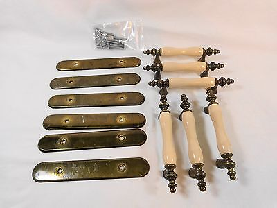 "Vintage BRASS DRAWER PULLS Set of 6 with Back Plate LIGHT BEIGE Ceramic 3"" Holes"