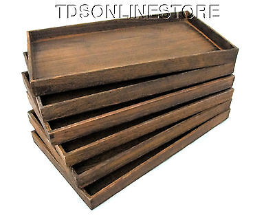 Package Of 6 Rustic Antique Brown Color Wood Jewelry Trays