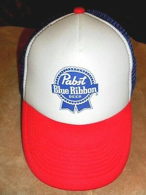 PABST BLUE RIBBON PBR Red/White/Blue TRUCKER HAT Snapback Cap Beer Baseball COOL