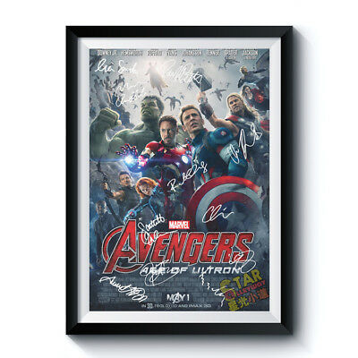 THE AVENGERS Signed Poster A3 Reprint Marvel Movie Ultron Full Casts Gift 183101