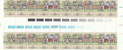 Stamps Australia 1977 Cricket Centenary strips of 5 in gutter strip of 20, MUH