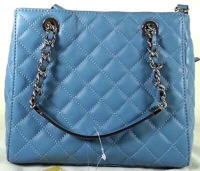 7ba89c39d0 Michael Michael Kors Susannah Quilted Leather Small Crossbody Tote in Blue