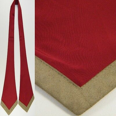 Womens Solid Red Polyester Tan Velour Tip Scarf Ascot Hair Wrap Necktie Tie