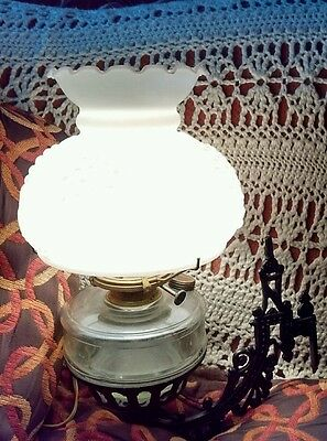 Antique Cast Iron Electrified Wall Lamp Milk Glass Grapes Shade Clear Chimney