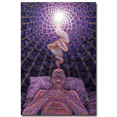 DYING Alex Grey Psychedelic Abstract Art Silk Fabric Poster 12x18 24x36inch