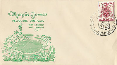 Olympic stamp 4d Australia 1956 Arnold Wheeler cover, cycling postmark