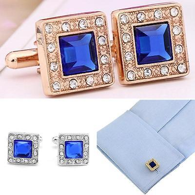 Blue Crystal Silver/Gold Square Mens Wedding Party shirt cufflinks cuff links