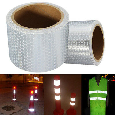 Silver White 3M Warning Reflective Safety Tape Adhesive Sticker For Trucks Car