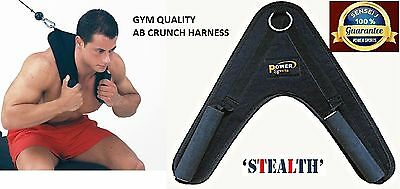 Power AB Crunch Harness Gym Cable Machine Attachment with Double Grip Handles