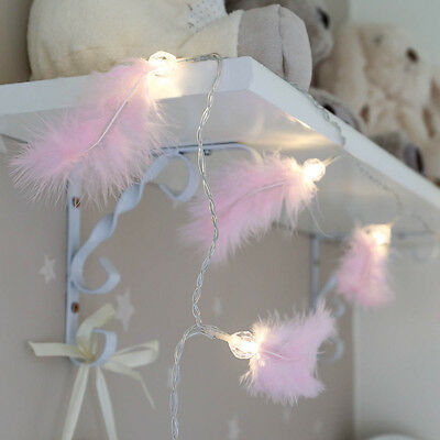 10 Led 1.5M Indoor Battery Pink Fluffy Feather Children's Fairy String Lights