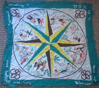 """1953 Girl Scout SCARF HANDKERCHIEF - Brownie Compass 27"""" Rayon"""
