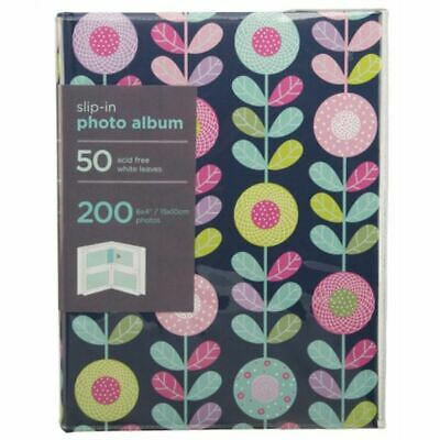 "WHSmith Blue & Bright Floral Stems Slip-In Photo Album Holds 200 6x4"" Photos"